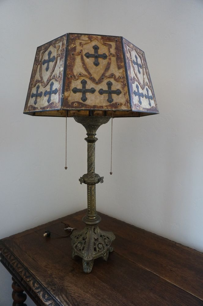 Antique Gothic Lamp With Mica Shade Antiques Shades And