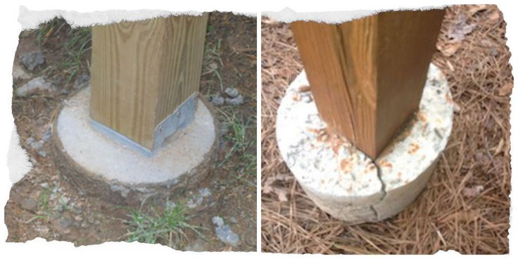 Why Deck Posts Should Not Be Set in Concrete!  the left shows a post set in a bracket  mounted to the top of a footer. The right shows a post that has concrete poured around it, which can lead to a crack. When concrete is poured around a deck post the post will rot due to moisture buildup by the soil. Concrete tends to absorb moisture and wood expands when it gets wet, so these two combined will result in the wood breaking the concrete. setting the post on top of footing for a solid…
