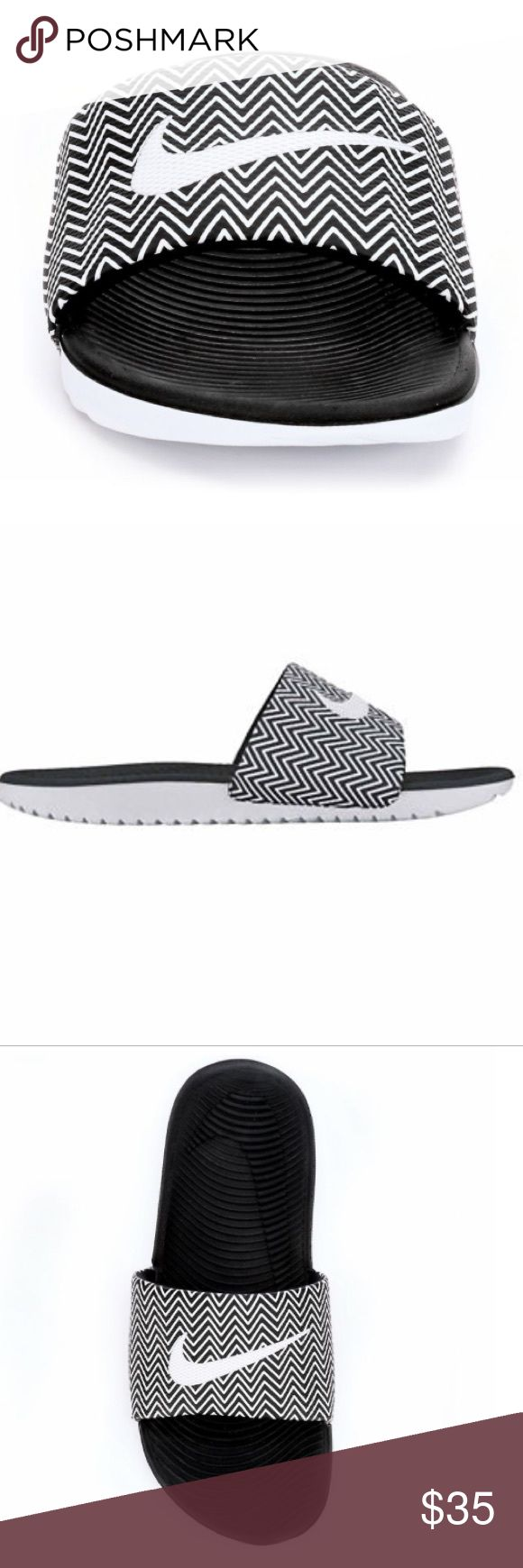 Nike Women's Kawa Print Slides Black and white Chevron Print Slides. Brand new. Very cute summer sandal.                  ❌NO TRADES.                                                       ✅OFFERS ACCEPTED.                                         FAST SHIPPING Nike Shoes Sandals