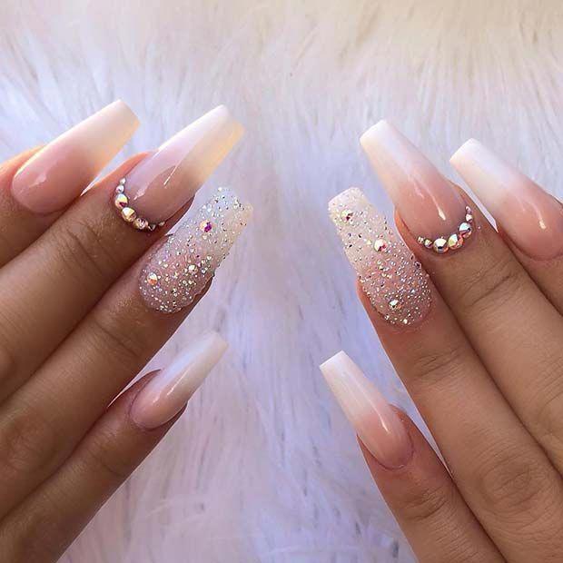 Elegant Ombre Coffin Nails Beautifulnails Rhinestone Nails Glitter Accent Nails Elegant Nails