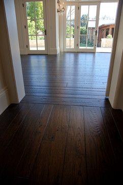 Dark wood wide plank floors!