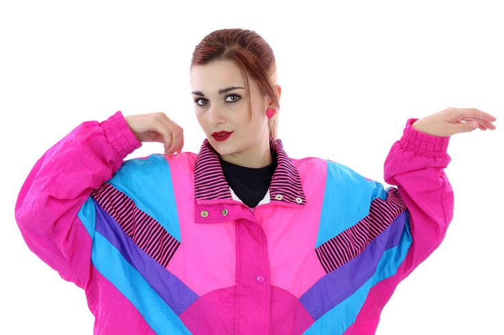 90s Windbreaker Jacket 80s Vintage Colorblock Neon Pink 1990s Athletic Running Coat Tennis 1980s Unisex Womens Size XLarge XL by neonthreadsdesigns on Etsy