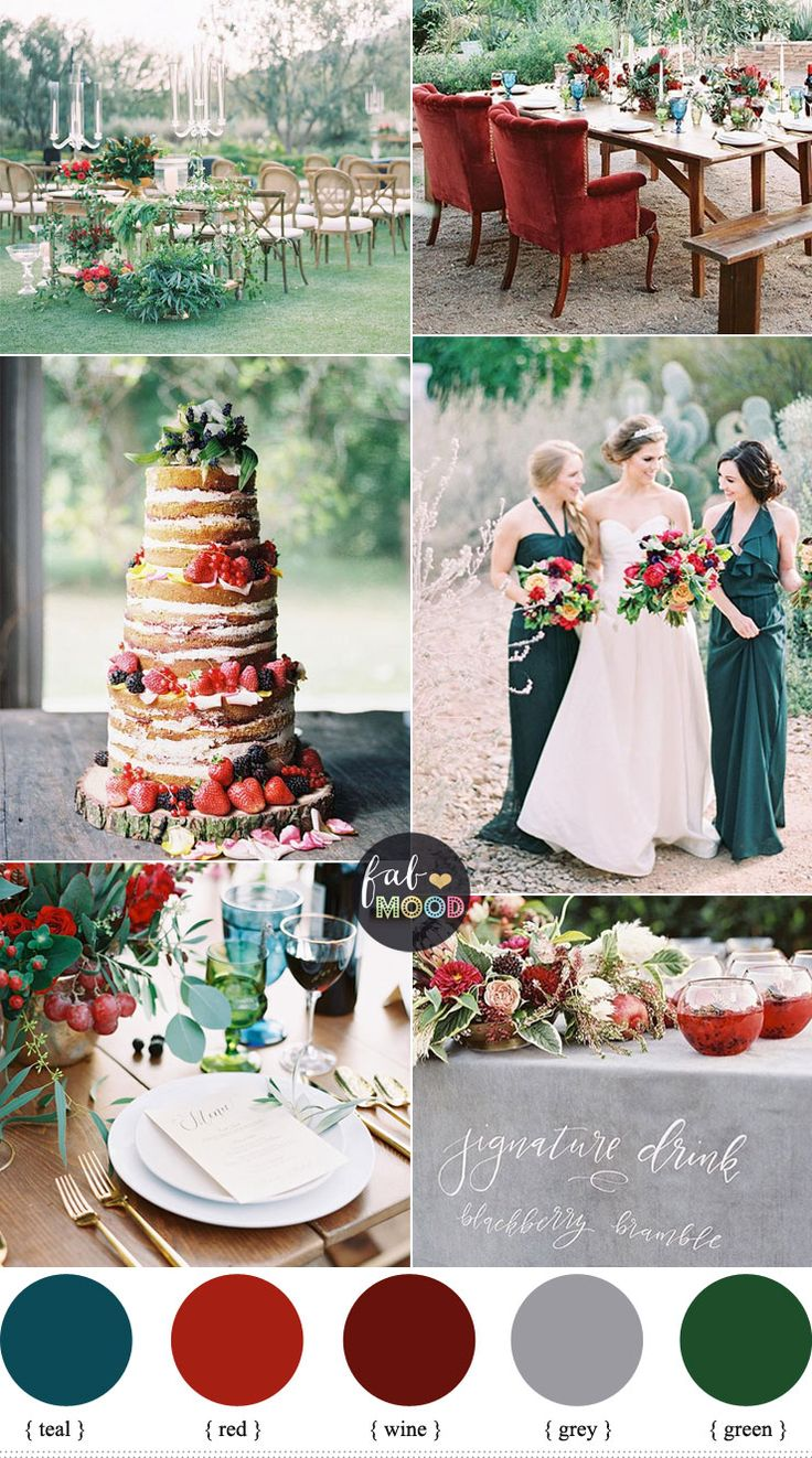 Jewel-toned wedding - With such a wide range of colours ( burgundy, emerald, red, magenta pink, sapphire, teal and plum hues), fall jewel tone wedding