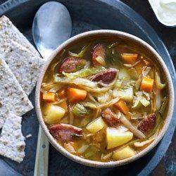 Kielbasa & Cabbage Soup - EatingWell.com sub in cauliflower for potatoes