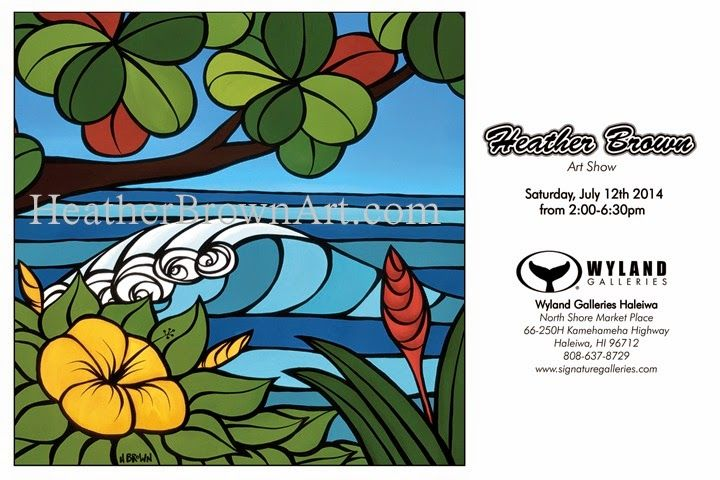 heather brown art show at Wyland Gallery Haleiwa July 12, 2014 from 2-6 pm. www.HeatherBrownArt.com