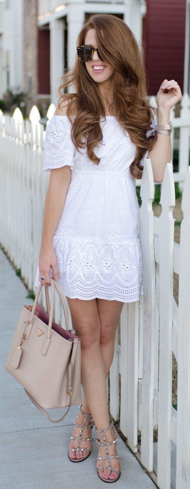 White Off Shoulder Dress & Beige Leather Tote Bag