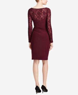 Lauren Ralph Lauren Lace-Trim Jersey Dress - Rioja 10