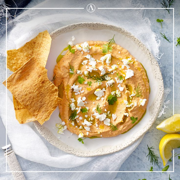 Roasted Capsicum Dip with Toasted Pide Bread.  #summerrecipes #easyrecipes #Mediterranean #cheese #Lemnos