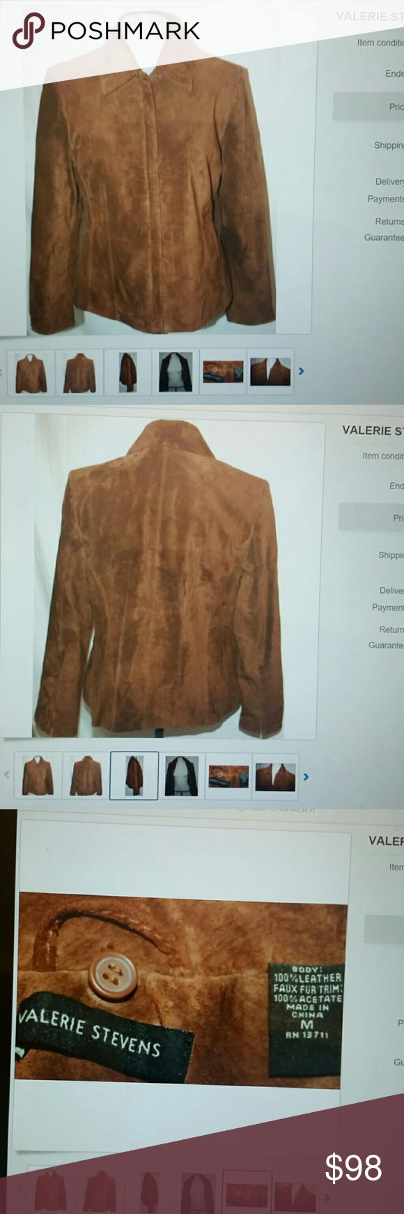 Valerie Stevens soft suede leather jacket coat M Like new no stains just Shadows color cognac Brown short trench coat Blazer suede leather Valerie Stevens Jackets & Coats Pea Coats