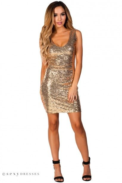"""Tina"" Gold Sleeveless Fitted Sequin Party Dress"