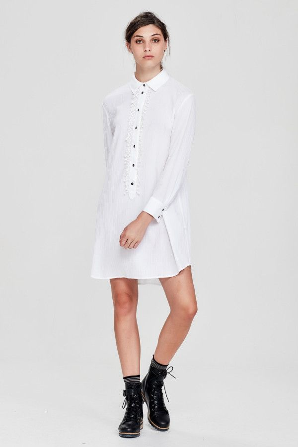 Sylvester by Kate Sylvester - Dressed Up Shirtdress White Crinkle