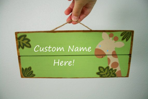 Custom name sign Jungle nursery zoo animal by FromBelleWithLove