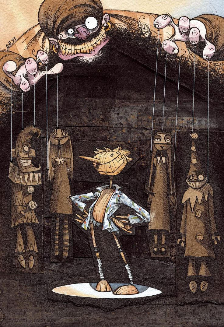 "Gris Grimly's illustration for Guillermo del Toro's ""Pinocchio"""