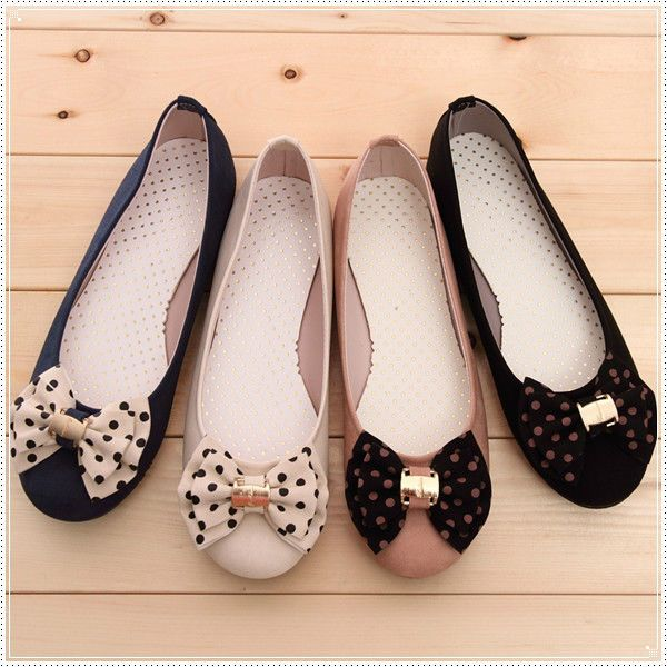 BN Womens Casual Style Comfy Polka Bowed Ballet Flats Ballerinas Shoes 4  COLORS