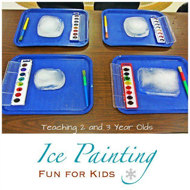 Painting on ice! Fun for toddlers and preschoolers from Teaching 2 and 3 Year Olds