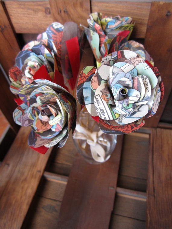 24 best upcycled paper flowers from books sheet music maps and items similar to dozen flowers made from old comic books on etsy mightylinksfo