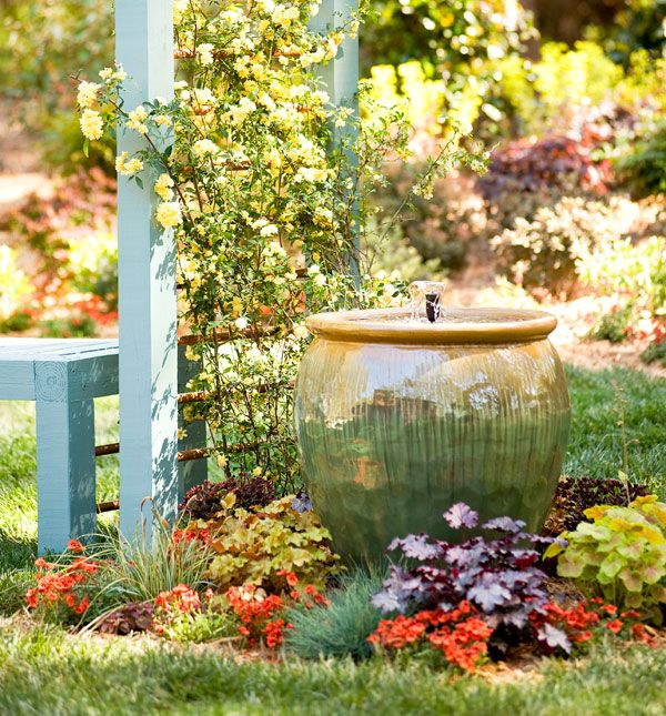 Looking for a soothing addition to your outdoor retreat? #Spring into action with this lovely fountain.: Diy Gardens, Water Fountain, Creative Ideas, Water Features, Gardens Fountain, Outdoor Retreat, Outdoor Fountain, Fountain Ideas, Water Garden