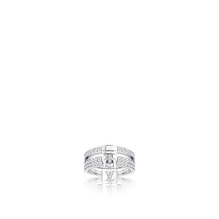 Anillo Lockit de oro blanco y diamantes Mujer Relojes y Joyería | LOUIS VUITTON