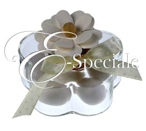 E-speciale Fiore in Vetro con tappo sughero - Prodotti per Addobbi per Feste - Candele e Portacandele - accessori e gadget per matrimoni e feste - E-speciale