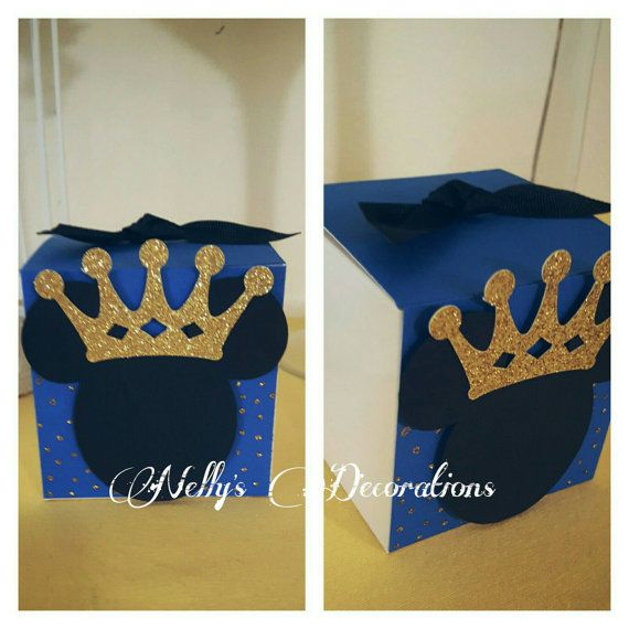 Prince Mickey Mouse favor boxes Mickey Prince Royal blue gold
