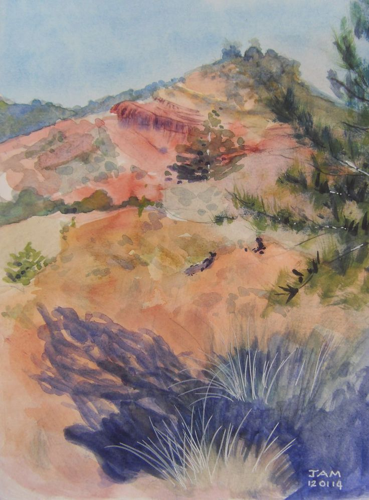 """""""Red hill with violet shadows"""" by Judith Alsop Miles. Watercolour of the landscape near Peyrolles, Languedoc-Roussillon (France)"""