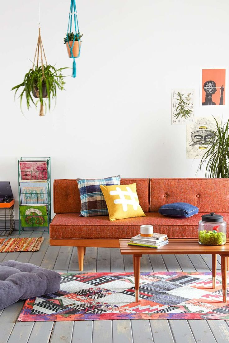 Mid Century Sofa in Orange | Urban Outfitters