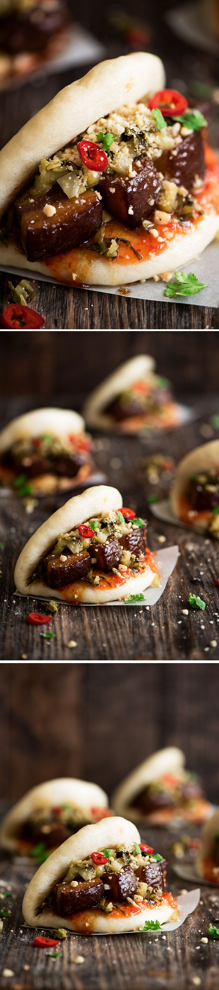 Melt in the mouth pork belly stuffed in soft, fluffy mantou (buns) with sweet & spicy chili sauce & crunchy sour pickled mustard greens.