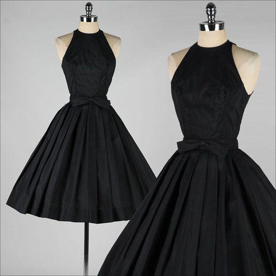 vintage 1950s dress . SUZY PERETTE . black halter . bow belt . 3664 on Etsy, $345.00