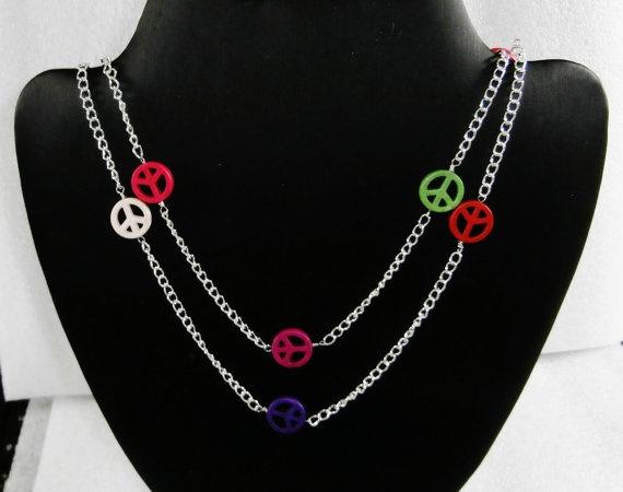 Long line Silver Peace Necklace by WearMyJewellery on Etsy, £6.50