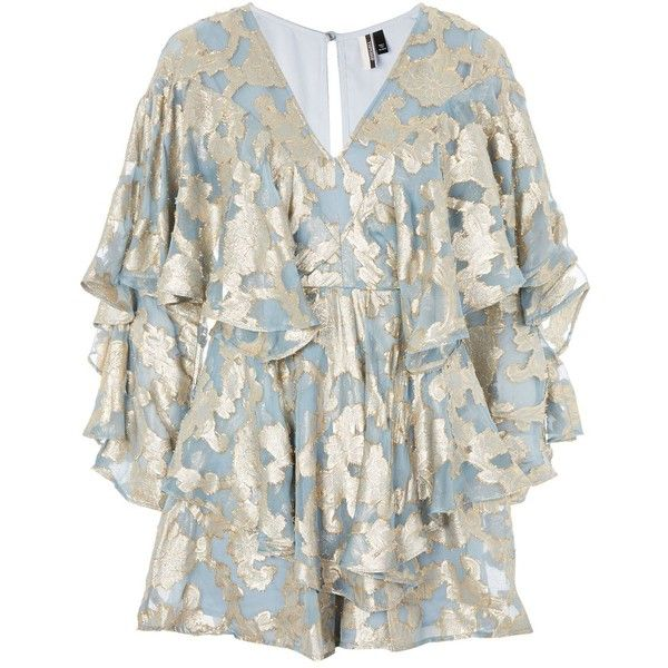 Topshop Foil Ruffled Plunge Playsuit ($130) ❤ liked on Polyvore featuring jumpsuits, rompers, ruffle romper, long-sleeve rompers, topshop romper, party rompers and going out rompers