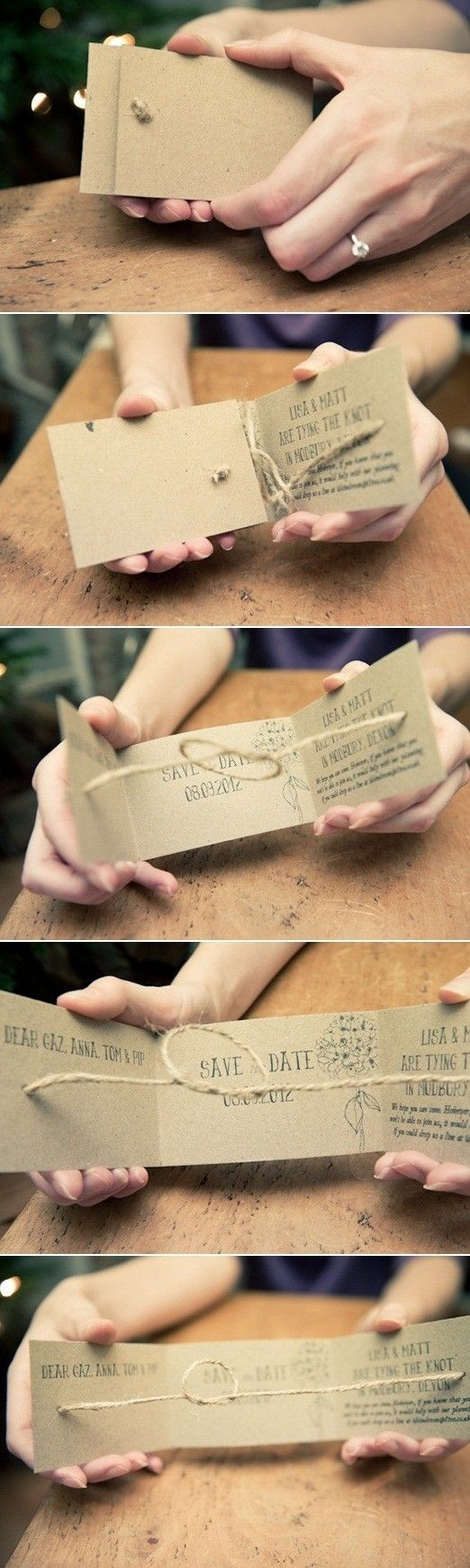"""save the date"" invites that tie the knot as you open them. very cute."