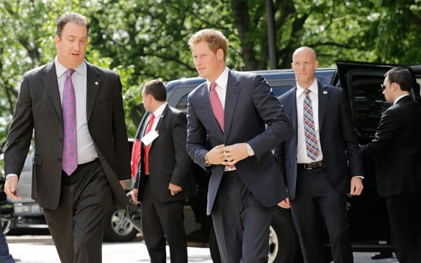 Prince Harry arrives at the Russell Senate Office Building on Capitol Hill during the first day of his visit to the United States. The prince will be undertaking engagements on behalf of charities with which he is closely associated and also on behalf of the British government, with a central theme of supporting injured service personnel from the British and U.S. forces.