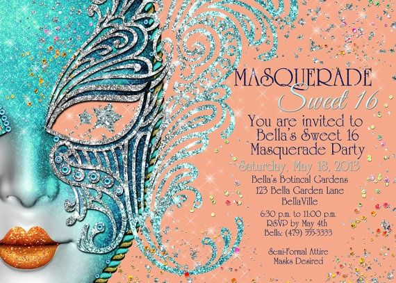 Sweet 16 Masquerade Party Ideas | Masquerade Sweet 16 Party Invitation via Etsy | Ideas for a Sweet 16 ...