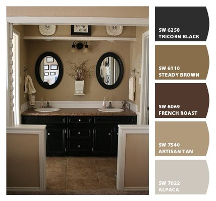 Bathroom colors (Using Chip It! tool from Sherwin Williams) -- Think my hubby and I would both agree on a similar tan and black scheme for the master bedroom and bathroom.