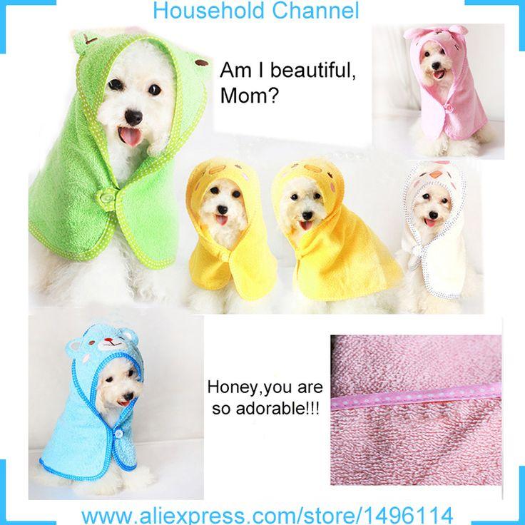 Free Shipping Dog Towel Pet Animals Hooded Dog Clothes Polyester Blanket Super Absorbent Shower Dog Bathrobe Handtuch Hund Robe