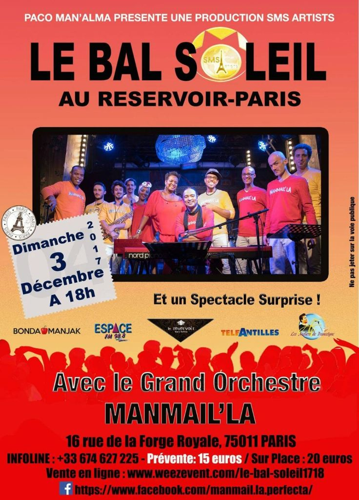 @Bondamanjak : LE #BALSOLEIL au @RÉSERVOIR à #PARIS c'est  PLACE TO BE le dimanche 03 décembre 2017 à 18h.  #Martinique #Guadeloupe #guyane #lareunion #music  #France #Musique  #Manmailla #bal #danse @bienglace @Nesly_Nefertiti @Espacefm988 https://t.co/frTqGq5ltd