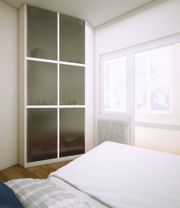 Вид на лоджию и шкаф из спальни. Пробная визуализация для проекта «квартира в лесу».