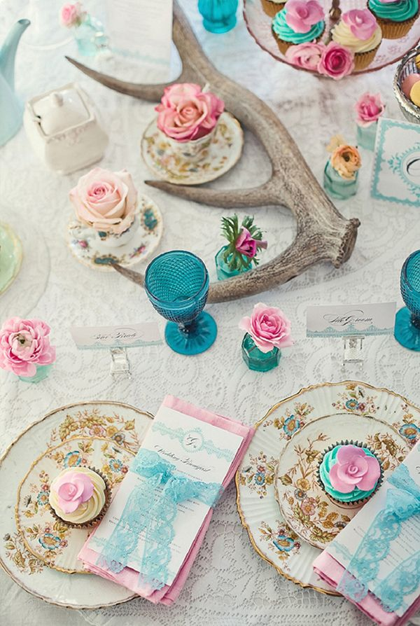 Tea party place settings. Photo by London photographer Marianne Taylor (via House of Turquoise).