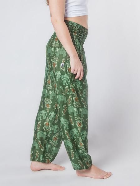Olive and green elephant print Thai harem pants Amazingly lightweight and comfortable High smock elastic waist Wide leg Elastic cuffed ankle Perfect for lounging, adventure, or just about anything else