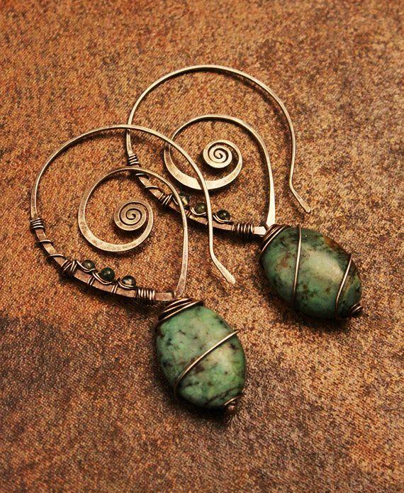 Turquoise & Rutilated Quartz Swirl Hoop Earrings, wrapped in Sterling Silver