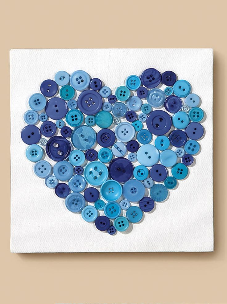 Canvas with button heart | DIY Canvas Art | Heart Button Project Idea from @joannstores | Easy Kids Valentine's Day Project