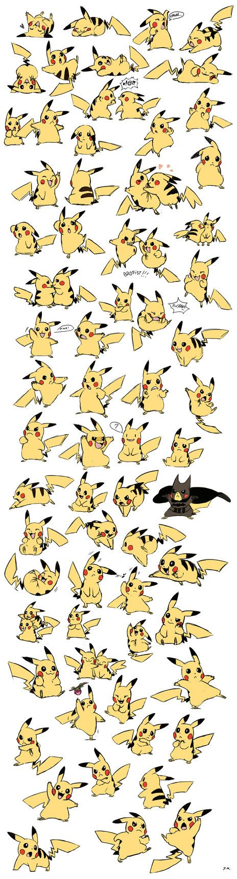 Pikachu Expressions/Poses by bluekomadori. Hahaha all the Pikachu you could possibly want! - Ander
