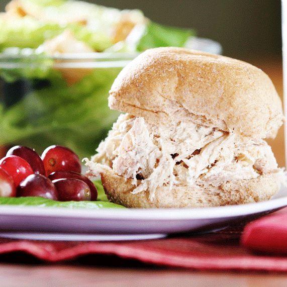 Creamy garlic and herb turkey or chicken sandwiches for Leftover shredded turkey sandwiches