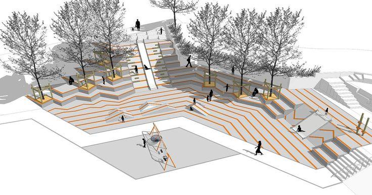 La ville d'Evreux (Eure/27) soucieuse d'aménager un espace moderne de jeux pour enfants a retenu le projet original de l'agence d'architectes paysagistes SENSOMOTO, spécialiste des aires de jeux et des jardins botaniques