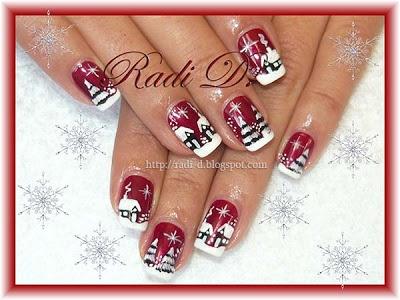 """Winter Wonderland"" Christmas Nails"
