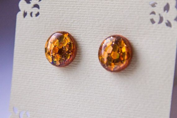 Gold glitter studs glitter studs sparkle studs gold от JewelryBest