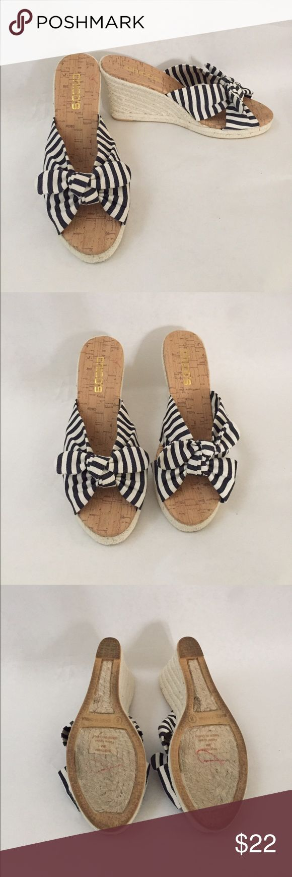 Chico's striped wedge sandals size 8 Like new! Navy blue and white striped wedge sandals with cork sole. Worn once, comes from pet and smoke free home. Heel about 3 1/2in Chico's Shoes Wedges