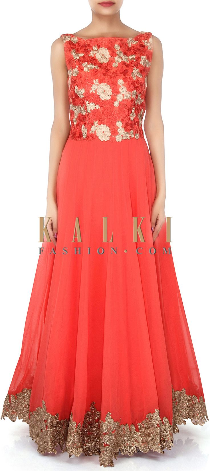 Buy Online from the link below. We ship worldwide (Free Shipping over US$100). Product SKU - 304497. Product Link - http://www.kalkifashion.com/coral-anarkali-suit-adorn-in-resham-embroidery-only-on-kalki.html