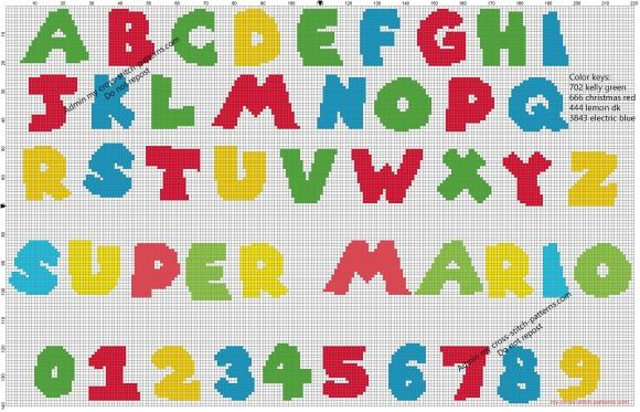 Super Mario Bros free videogames cross stitch alphabet pattern