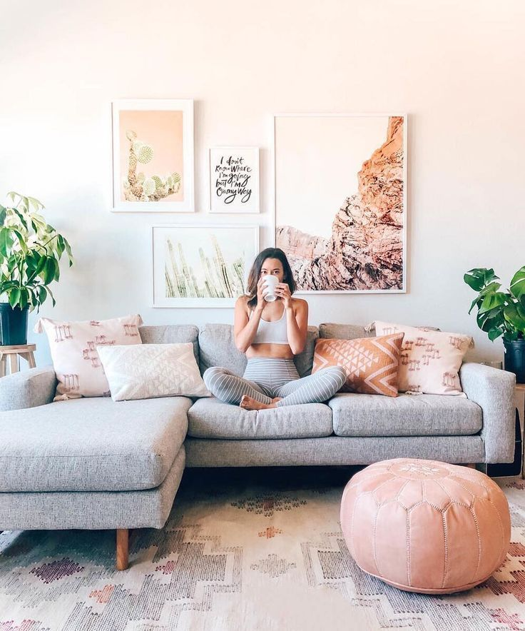 Blush and grey living space. Shop unique fine art from our community of independ